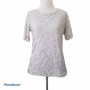 Adrianna Papell Size Small Gray Lined Lace Top